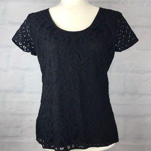 Ann Taylor Black Lace Short Sleeve Top